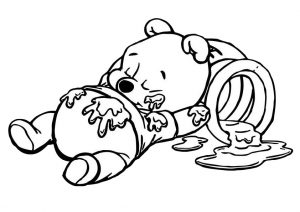 Baby Winnie Pooh Napping After Lunch Coloring Pages