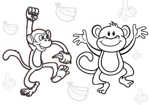 Banana Banana Everywhere Go for it Monkey Coloring Pages