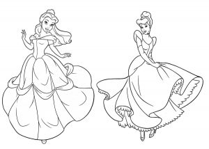 Cinderella and Beauty and the Beast Belle Princess Coloring Pages