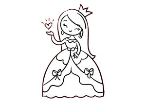Coloring Page of a Cute Little Princess