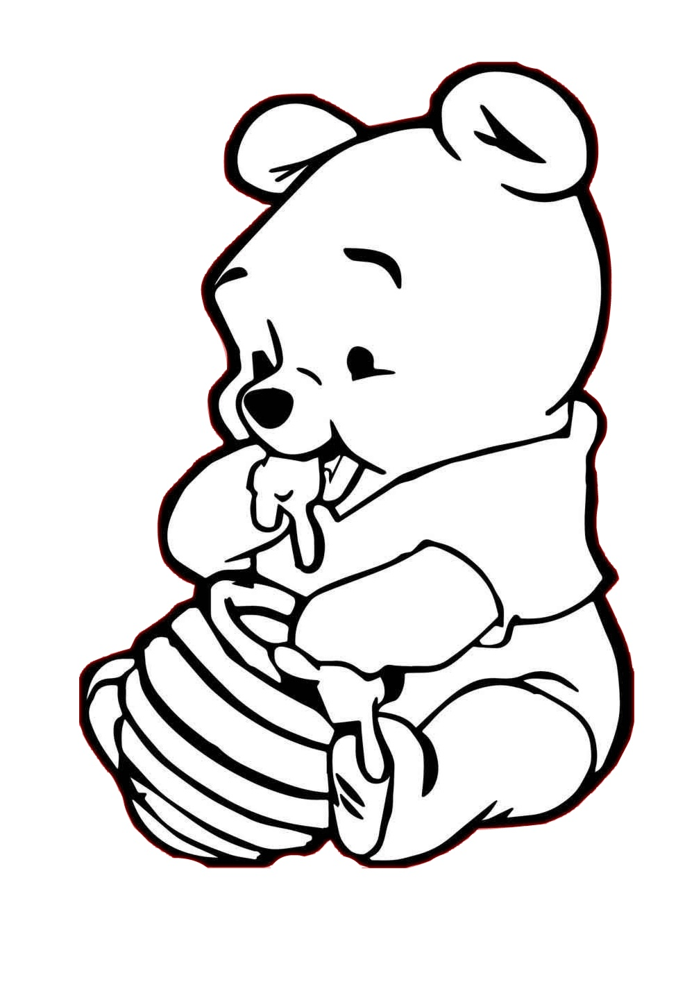 Coloring Pages of Cute Little Baby Pooh Bear Eating Honey