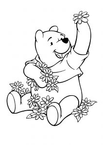 Coloring Pages of Disney Winnie Pooh Bear Playing with Flowers