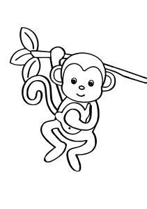 Cute Little Monkey Hanging on to a Tree Branch Animal Coloring Pages