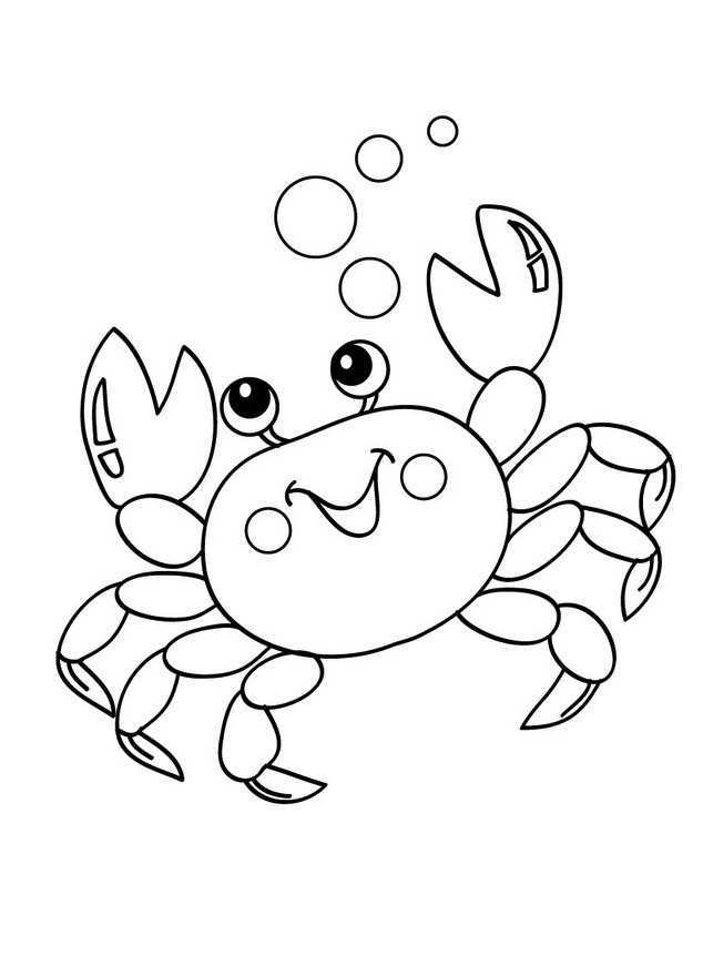 Cute Looking Crab Coloring Pages Crab Catching Bubbles