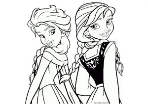 Frozen Anna and Elsa Princess Coloring Pages