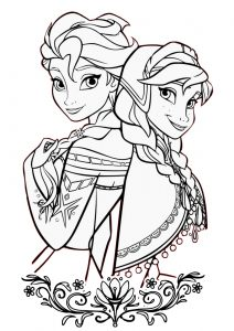 Frozen Princesses Anna and Elsa Coloring Page