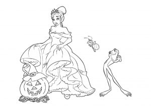 Disney Princess and the Frog Tiana Princess Coloring Pages Halloween Season