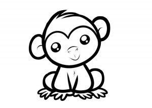 Easy to Draw Cartoon Monkey Coloring Page