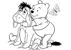 Eeyore Donkey and Winnie the Pooh Friends Coloring Pages