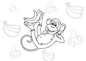 Funny Monkey with Banana Coloring Pages for Toddlers