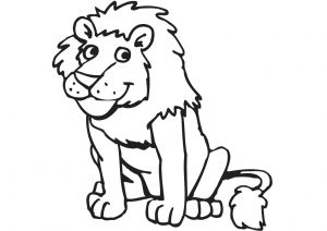 Funny and Smiling Faced Lion Coloring Pages for Preschool Kids
