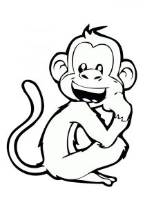 Happy Looking Monkey Easy Coloring Pages