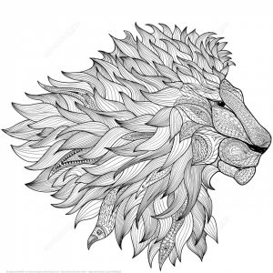 Hard to Color Lion Coloring Pages Stress Relief Adult Coloring