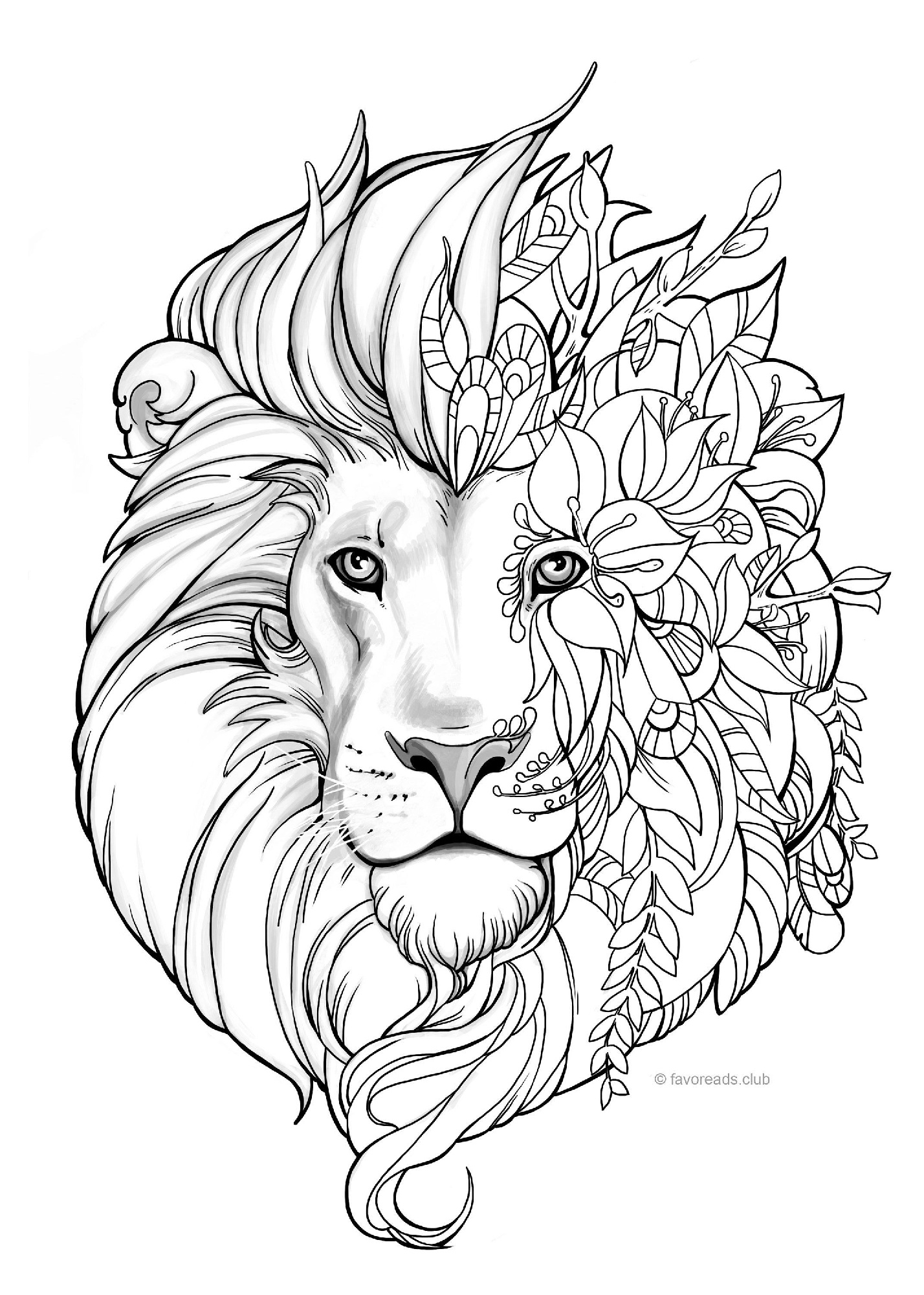 Mandala Lion Adult Coloring Pages Hard to Color Lion Pages