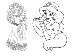 Merida Brave Princess and Aladdin Jasmine Coloring Pages