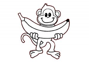 Monkeys Love Banana Animal Coloring Pages for Kids