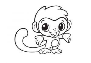 Out from Jungle Adorable Little Monkey Coloring Pages