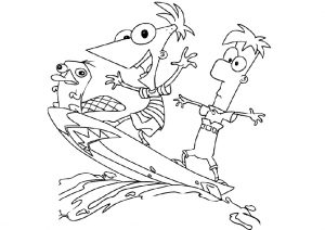 Perry, Phineas and Ferb Surfing on Vacation Coloring Pages