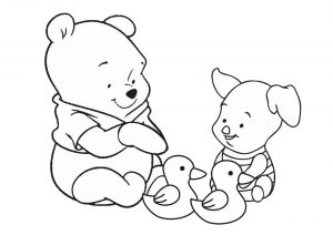 Piglet and Winnie Pooh Relaxing and Watching Ducks Easy Coloring Pages