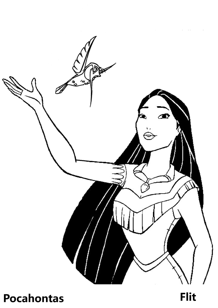 Pocahontas Coloring Page with Flit Humming Bird