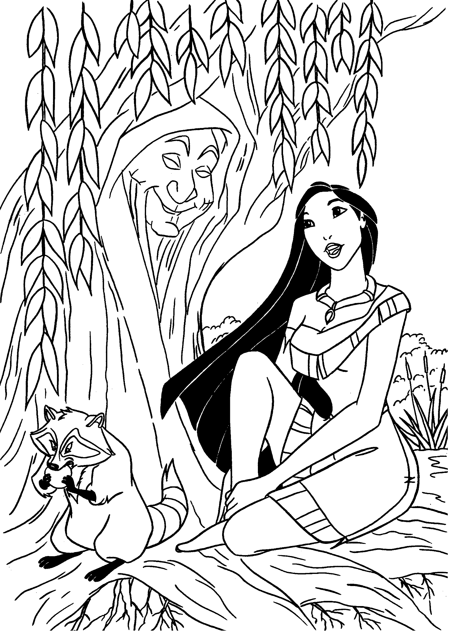 Pocahontas Coloring Page with Meeko Raccoon and Grandmother Willow Weeping Willow Tree