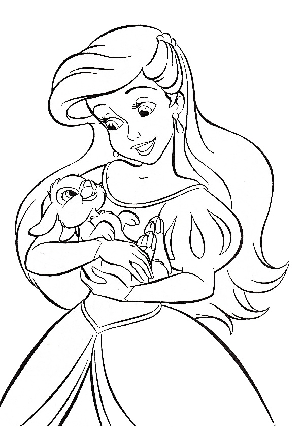 Princess Ariel with Bambi Thumper Disney Coloring Pages