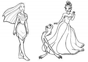 Princess Tiana and Pocahontas Coloring Pages for Girls