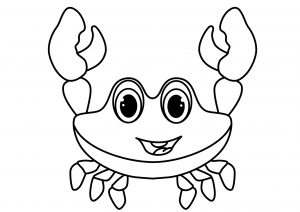 Printable Crab Coloring Pages Cute Looking Cartoon Crab