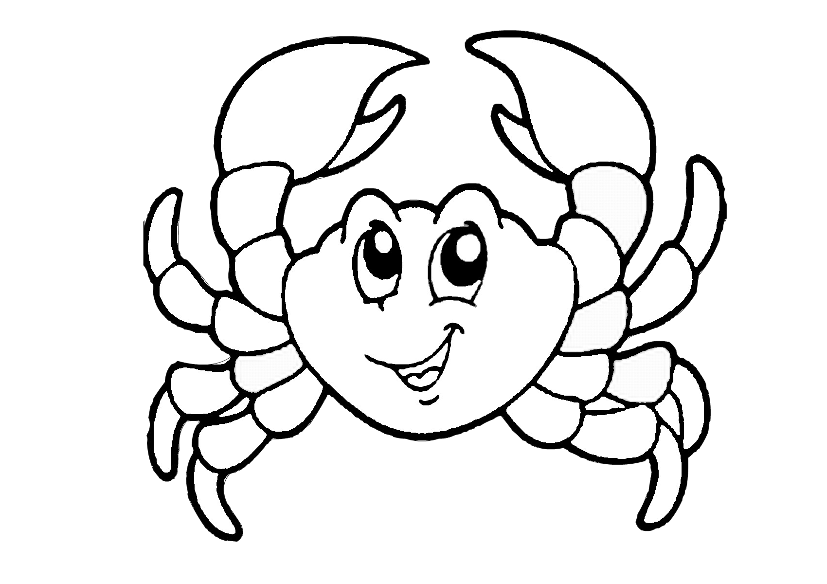 Printable Easy Cartoon Crab Coloring Pages for Preschool Kids