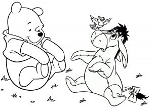 Printable Eyeore Donkey and Winnie the Pooh Bear Coloring Pages