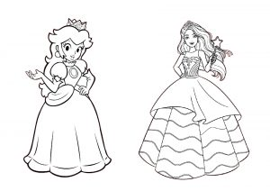 Printable Princess Peach and Barbie Fairy Princess Coloring Pages