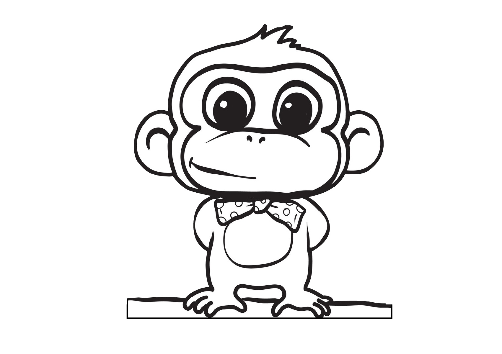 Printable Cute Cartoon Baby Monkey Coloring Pages for Kids