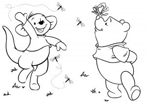 Roo and Winnie the Pooh Playing with Butterfly Coloring Pages