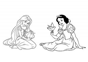 Tangled Princess Rapunzel and Snow White Coloring Pages