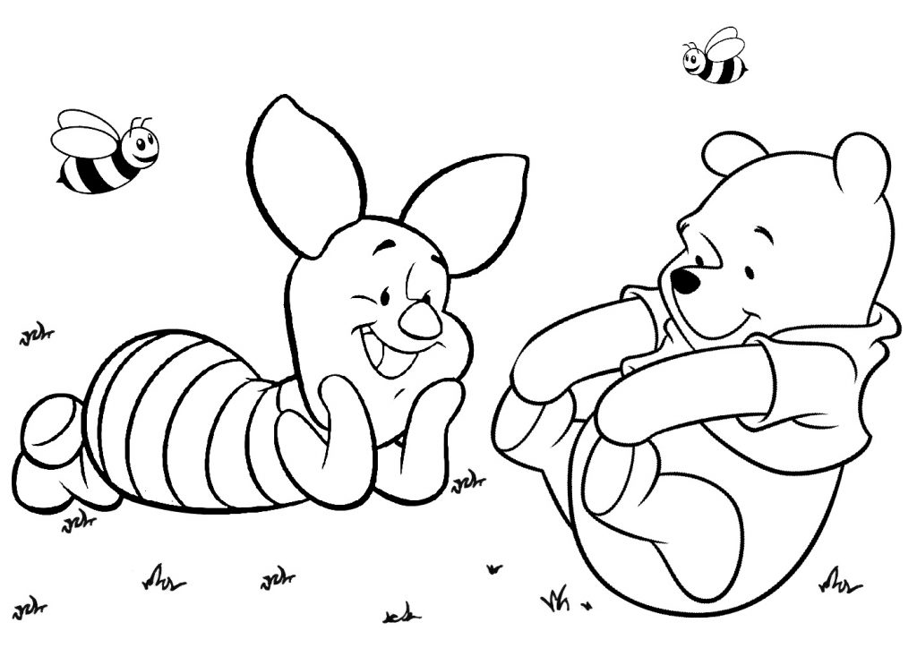 Winnie the Pooh and Piglet Coloring Pages Print Color Craft