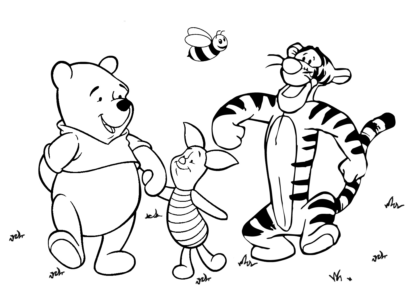 Winnie Pooh Piglet and Tigger on a Long Walk Coloring Pages