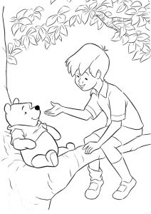 Winnie pooh and Christopher Robin Coloring Pages