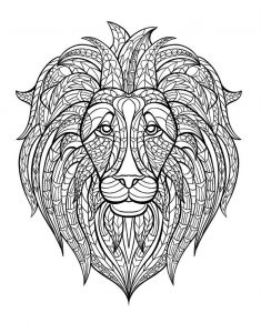Zentangle Lion Head Coloring Pages Adult Stress Relief Art Therapy Coloring Pages