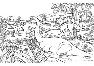 Advanced Dinosaur Coloring Page Difficult and Hard to Color Pages