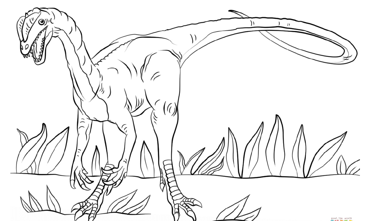 Angry Looking Dilophosaurus Dinosaur Coloring Page