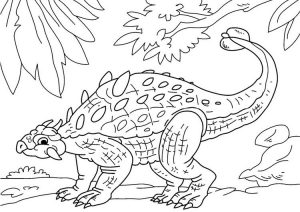 Ankylosaurus Dinosaur Coloring Pages Dinosaur Roaming in the Forest