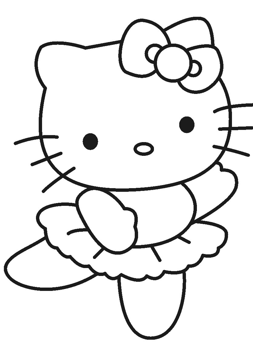 Ballerina Dancing Hello Kitty Dance Coloring Pages