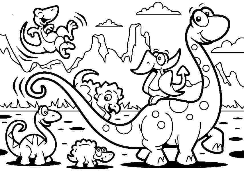 Cartoon Dinosaur Full Page A4 Sheet Printable Dinosaur Coloring Page