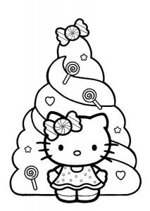 Christmas Celebration with Tree and Presents Hello Kitty Coloring Pages