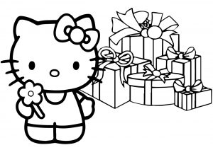 Christmas Surprise Hello Kitty Coloring Pages