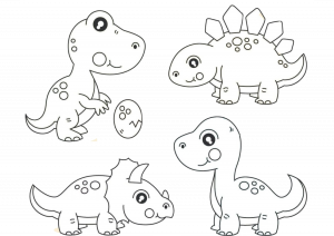 Cute Baby Dinosaurs Coloring Pages Print and Color Dinos