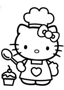 Cute Easy to Draw Hello Kitty Coloring Pages Hello Kitty as Chef