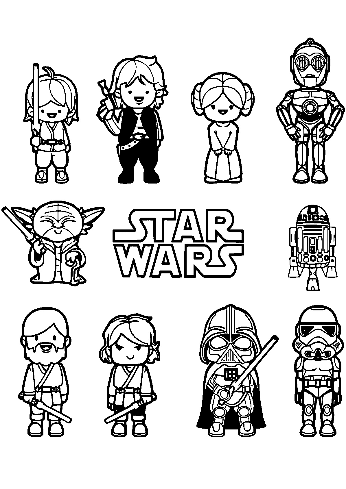 Cute Looking Star Wars Coloring Pages All Characters Easy Star Wars Coloring