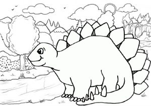 Cute Stegosaurus Roaming Around The Forest Dinosaur Coloring Pages