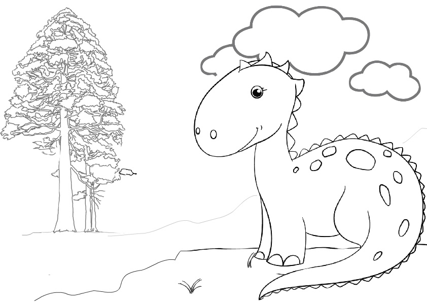 Cute and Smiling Dinosaur Coloring Pages